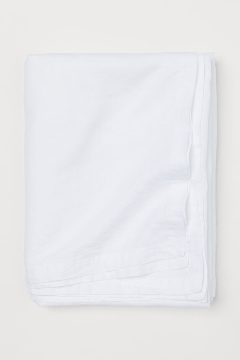 Washed linen tablecloth - White - Home All | H&M CN