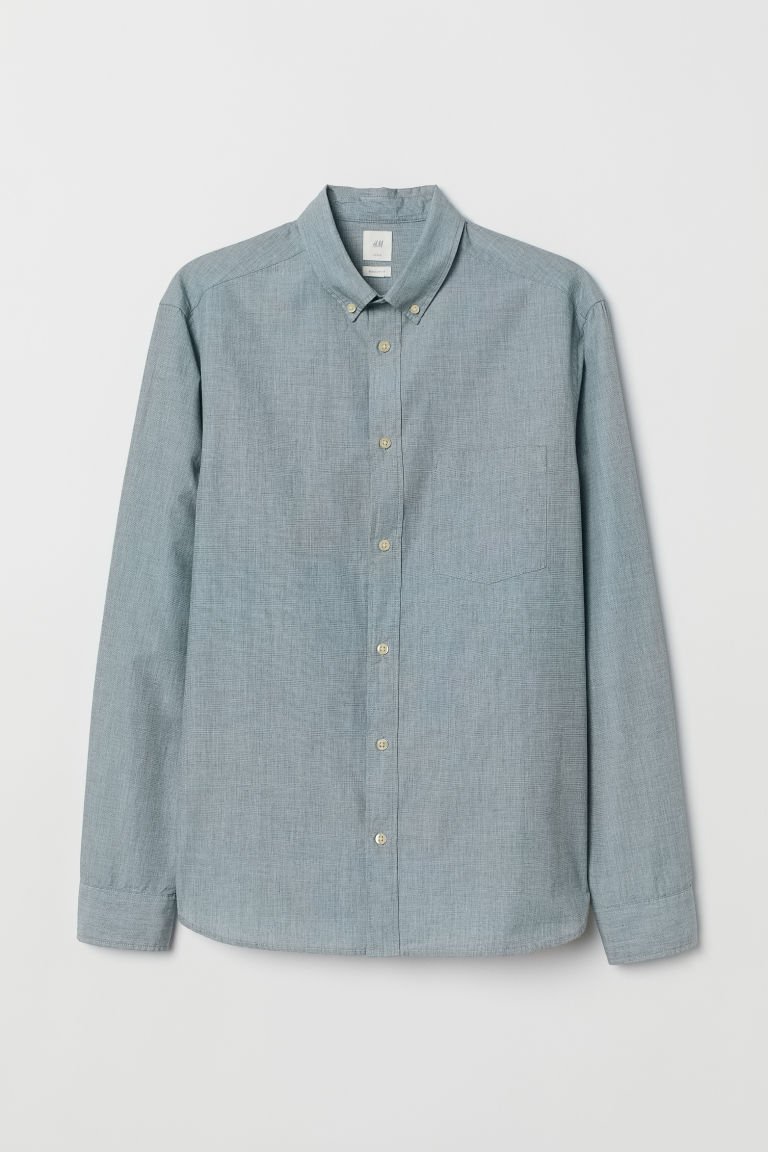 Camicia in cotone Regular fit - Verde-grigio - UOMO | H&M IT