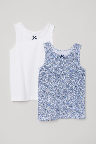 2-pack vest tops - White/Floral - Kids | H&M
