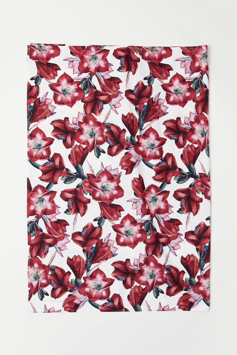 Patterned cotton tablecloth - White/Amaryllis - Home All | H&M CN