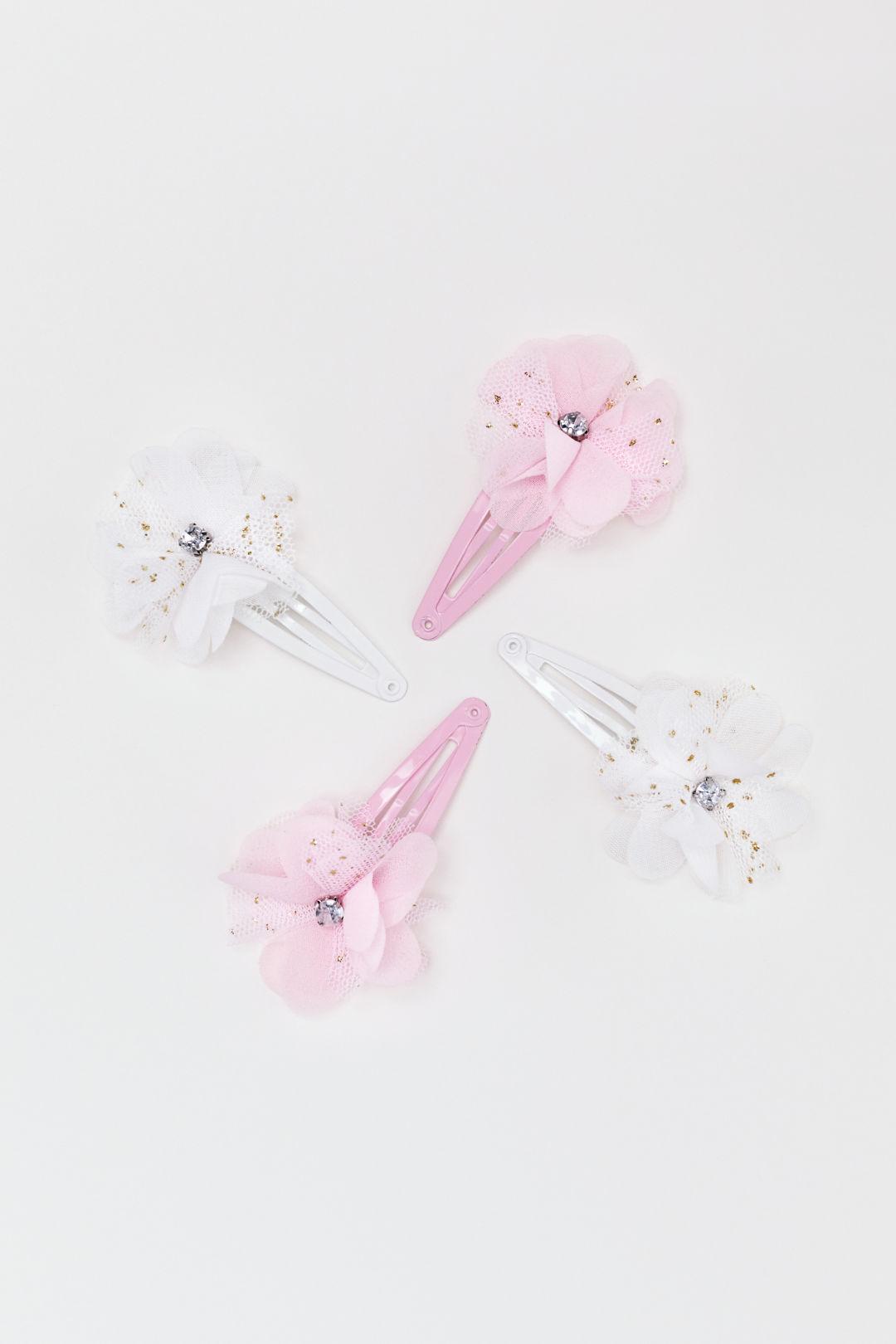 Set van 4 haarspeldjes - Wit/roze