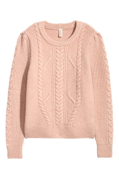 Textured-knit jumper - Powder pink -  | H&M IE