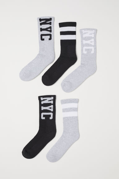 5-pack sports socks - Light grey/NYC - Kids | H&M