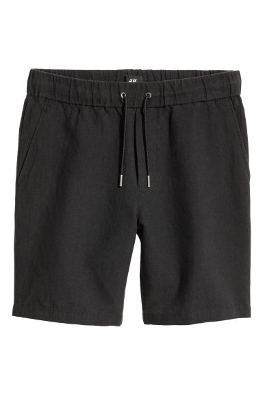 Pantaloni scurți din mix de in - Negru -  | H&M RO
