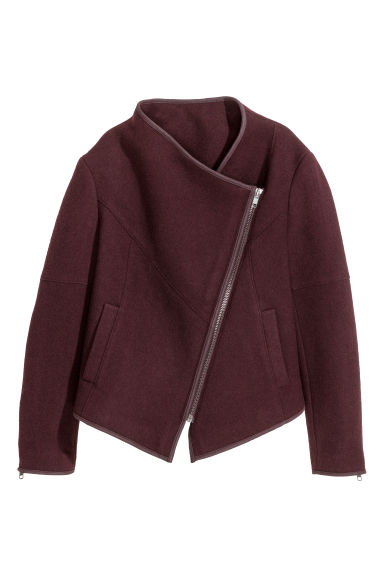 Felted biker jacket - Burgundy -  | H&M CN