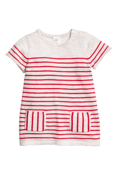 Fine-knit cotton dress - Natural white/Red striped - Kids | H&M