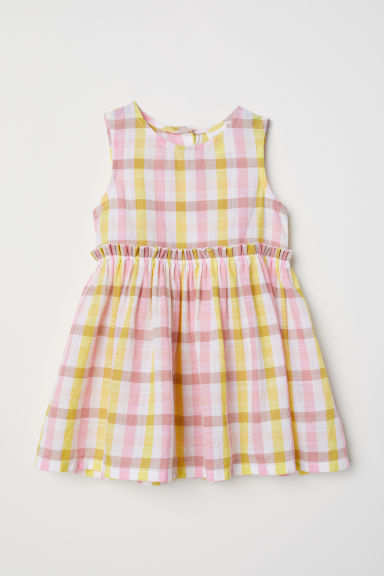 Patterned cotton dress - Yellow/Checked -  | H&M CN