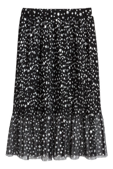 Pleated mesh skirt - Black/Stars - Ladies | H&M GB