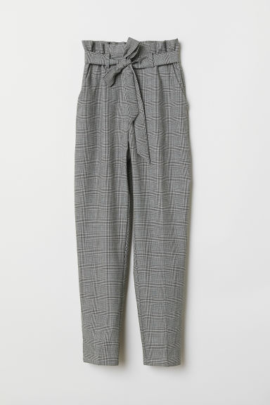 Paper bag trousers - Light grey/Striped - Ladies | H&M CN