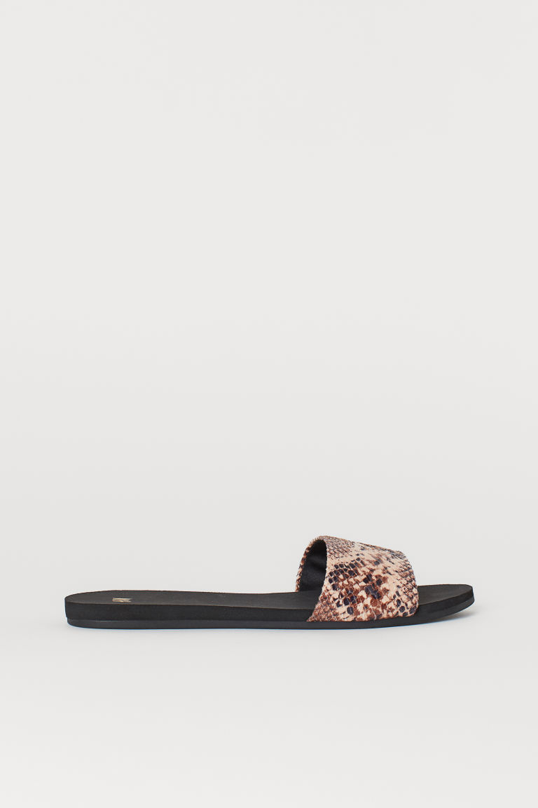 Slides - Dark beige/Snakeskin-patterned - Ladies | H&M CN