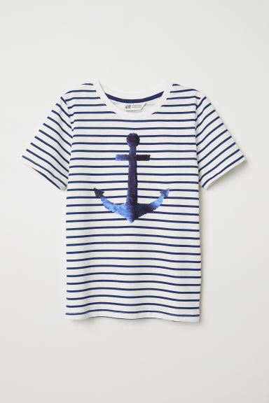 T-shirt with a motif - White/Anchors - Kids | H&M CN