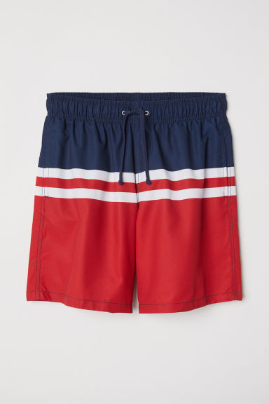 Knielange Badeshorts - Dunkelblau/Blockfarben - Men | H&M AT