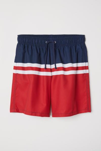cb2f0143bc Knee-length swim shorts - Dark blue/Block-coloured - Men | H&M IE