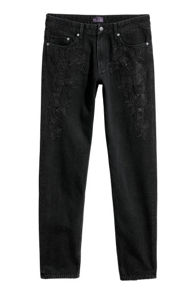 Jeans with embroidery - Black/Washed - Men | H&M