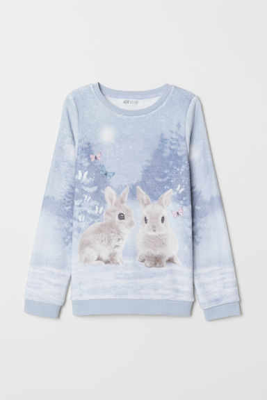 Pile top with a motif - Light grey/Rabbits - Kids | H&M