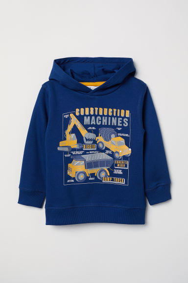 Printed hooded top - Dark blue/Machines - Kids | H&M