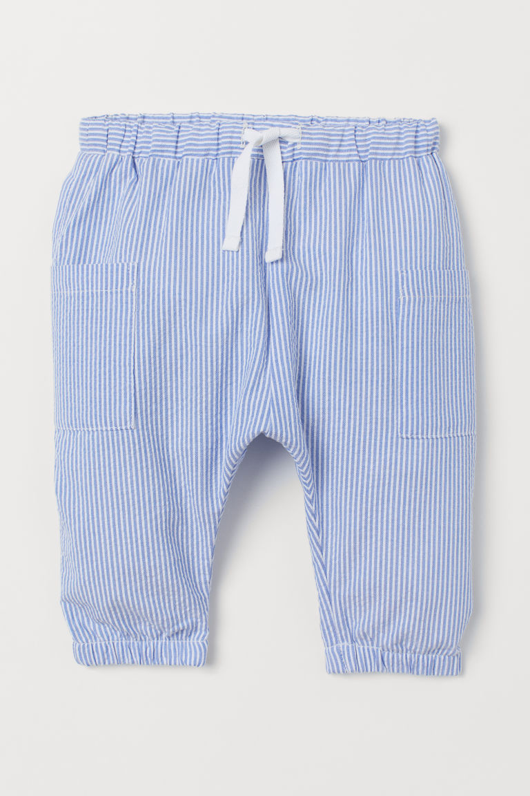 Cotton joggers - Blue/White striped - Kids | H&M GB