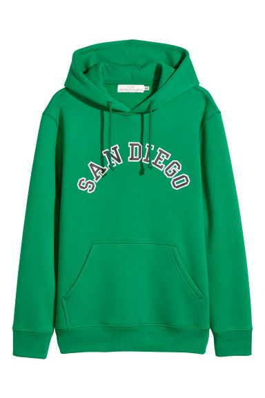 Hooded top with a motif - Green - Men | H&M CN