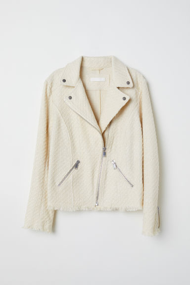 Textured biker jacket - Light beige -  | H&M CN