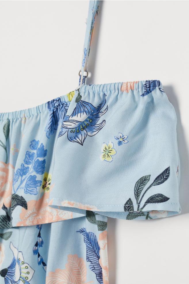 f7050b5536d6 ... Off-the-shoulder playsuit - Light blue/Floral - Kids | H&M GB