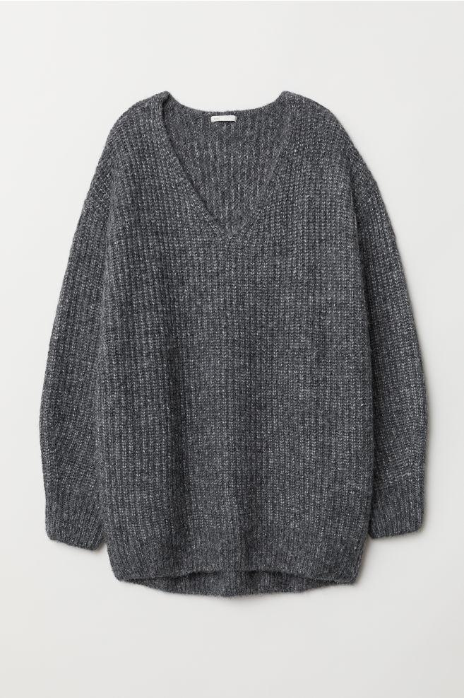 3115dfe9eac Rib-knit Sweater - Dark gray melange - Ladies | H&M ...