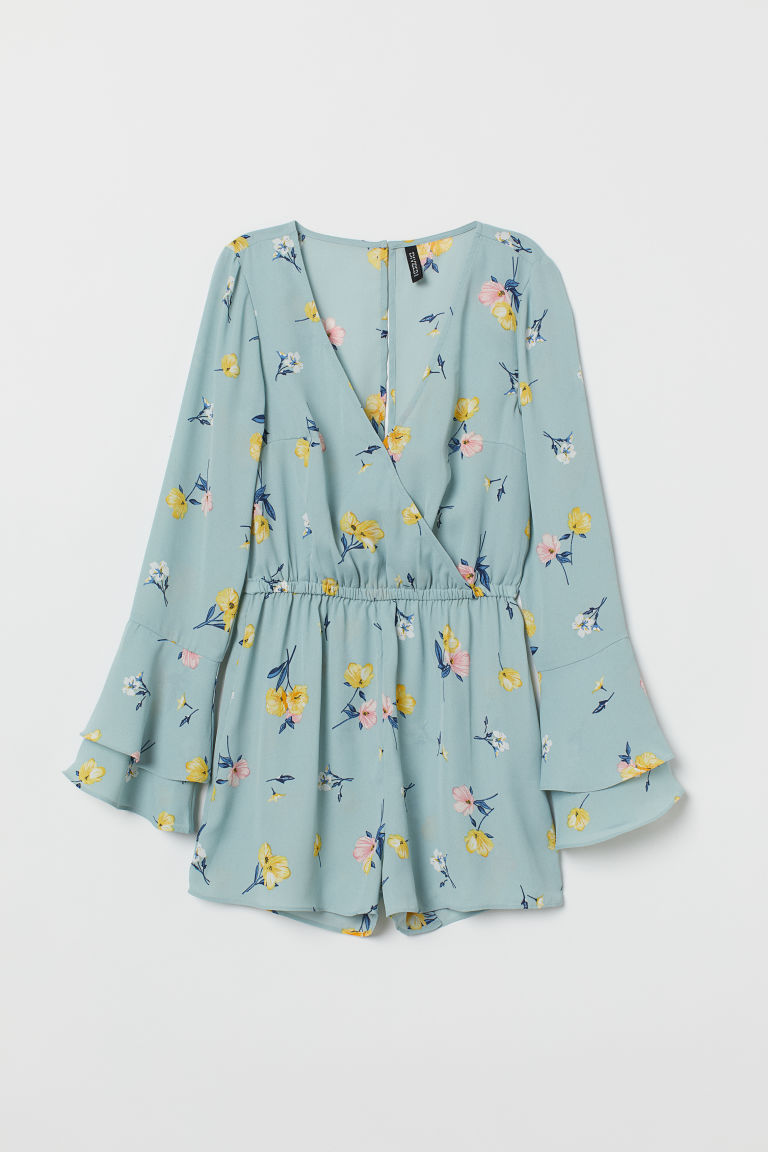 Chiffon playsuit - Turquoise/Floral -  | H&M