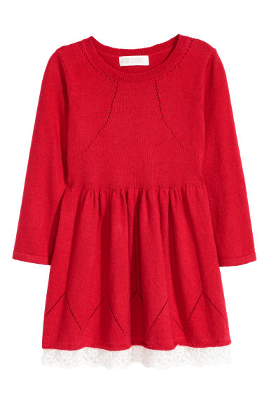Robe en maille fine - Rouge -  | H&M BE