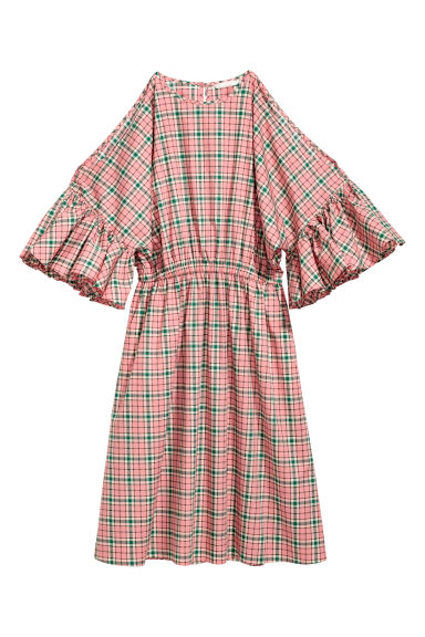 Cotton dress - Pink/Checked - Ladies | H&M