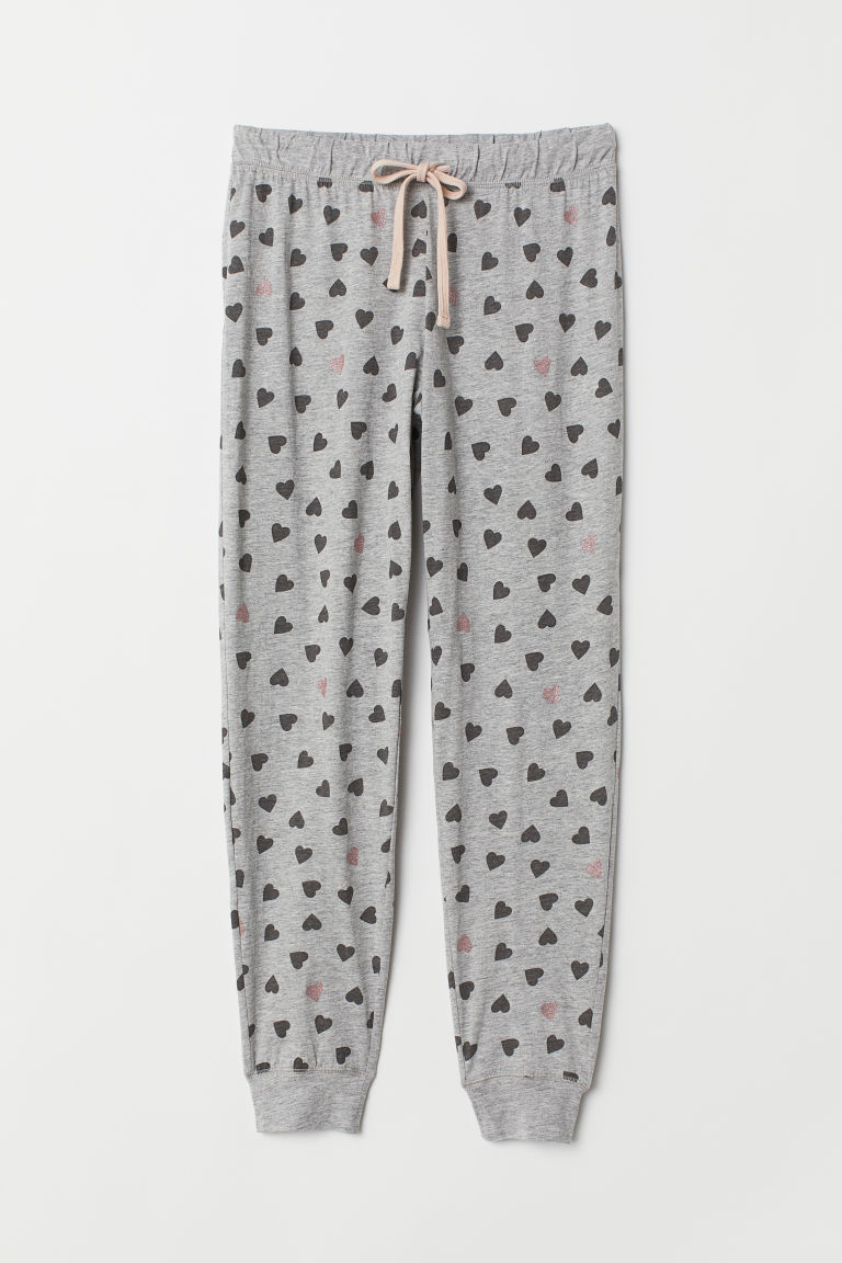 Pyjama bottoms - Grey marl/Hearts - Ladies | H&M