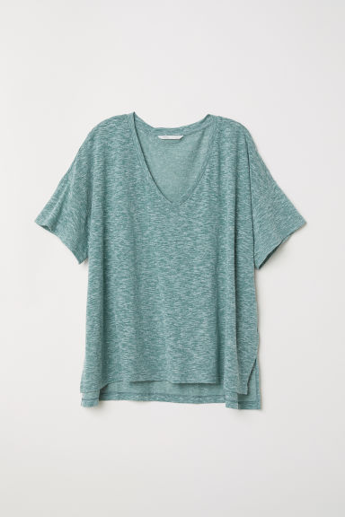 V-neck top - Green marl - Ladies | H&M