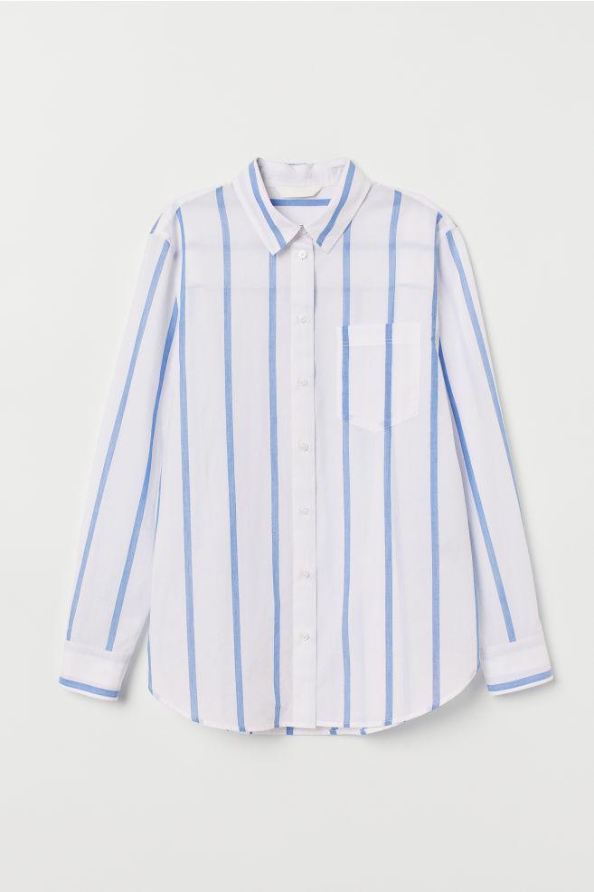 1abbd47cc289 ... Bavlnená košeľa - biela modrá pruhovaná - ŽENY