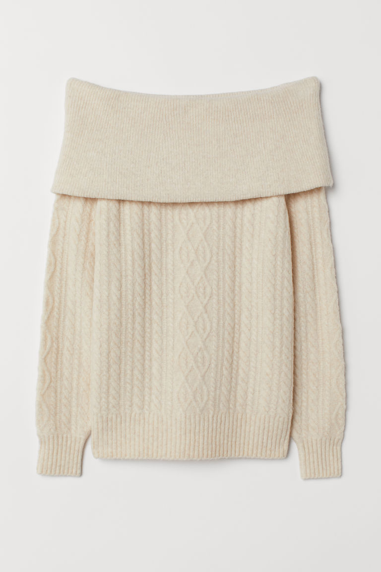 Off-the-shoulder jumper - Cream - Ladies | H&M