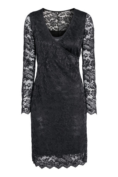 MAMA Lace nursing dress - Black -  | H&M