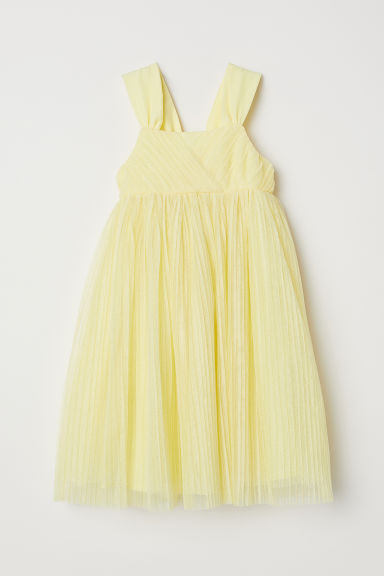 Glittery mesh dress - Light yellow - Kids | H&M