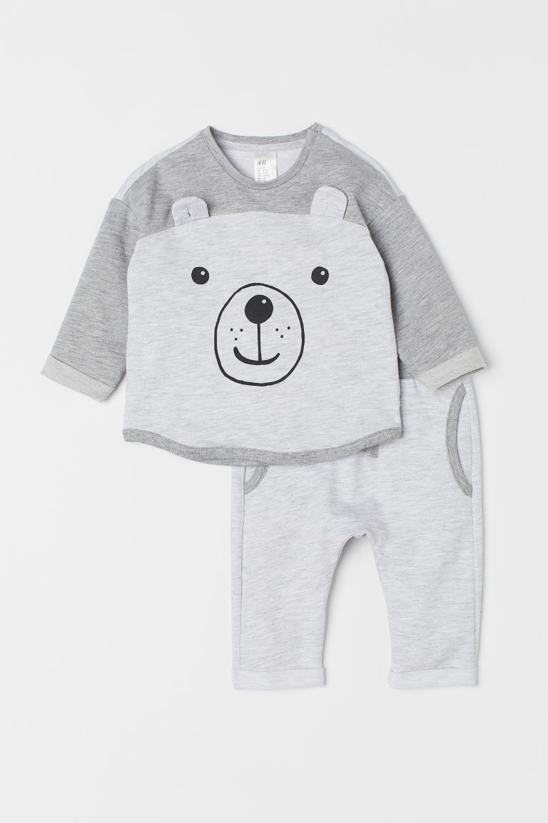 Top and trousers - Grey marl/Bear -  | H&M CN