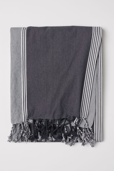 Striped cotton tablecloth - Dark grey/Striped - Home All | H&M IE