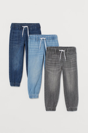 3-pack denim joggers