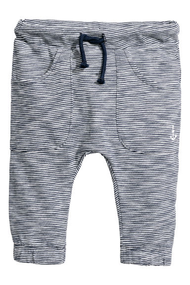 Jersey trousers with pockets - White/Dark blue striped - Kids | H&M