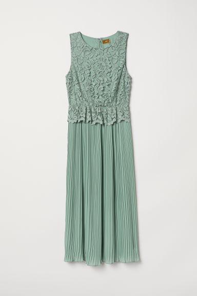 Pleated lace dress - Dusky green - Ladies | H&M
