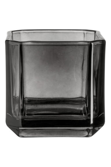 Glass tealight holder - Black - Home All | H&M IE