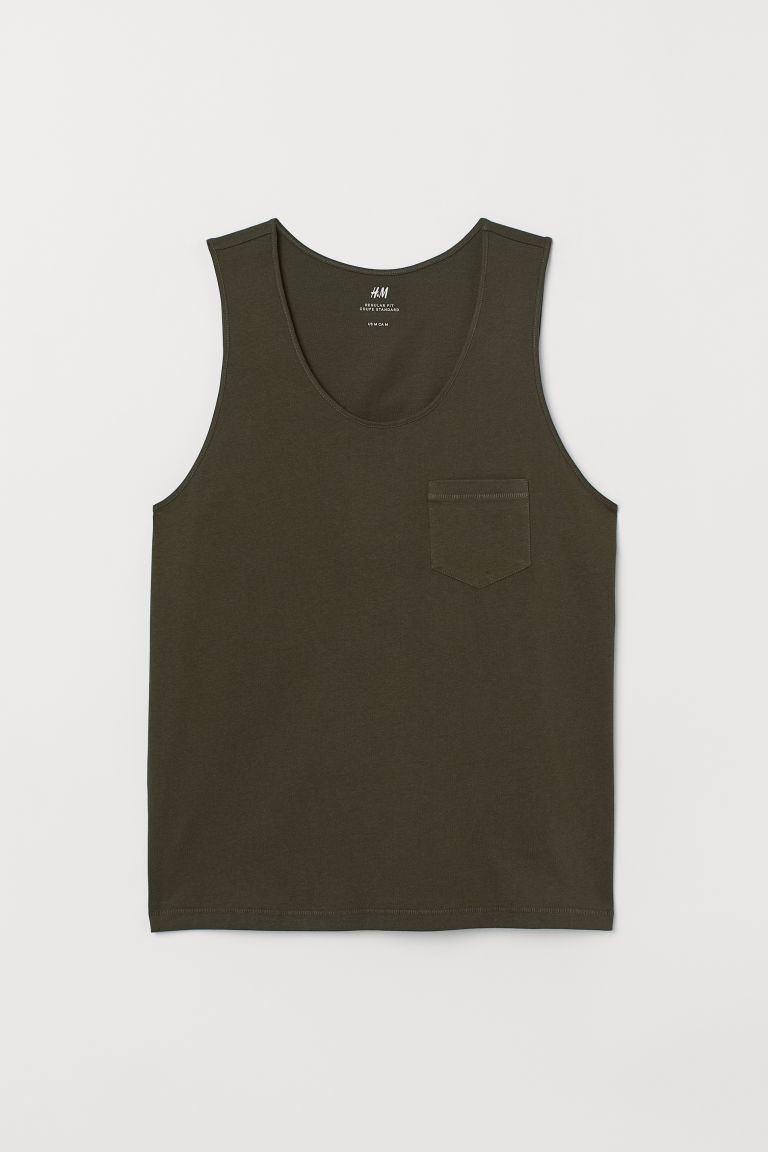 Vest top with a chest pocket - Dark khaki green - Men | H&M IE