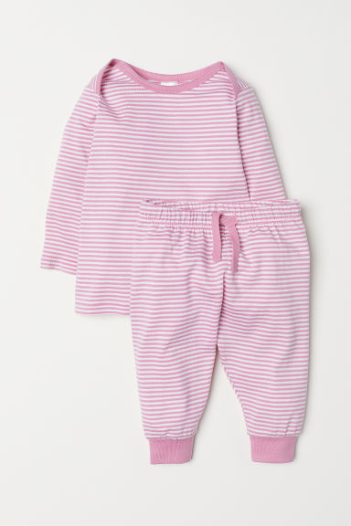 Jersey top and trousers - Light pink/White striped - Kids | H&M