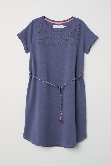 Short-sleeved sweatshirt dress - Blue - Kids | H&M