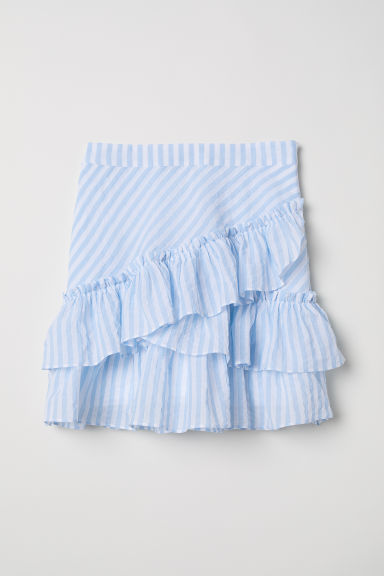 Flounced skirt - Light blue/White striped - Ladies | H&M CN