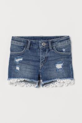 a164b4fc8e5 Lace-trimmed denim shorts