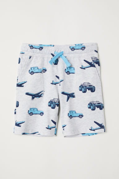 Jersey shorts - Grey marl/Vehicles - Kids | H&M