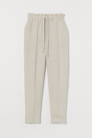 Pull-on linen-blend trousersModel