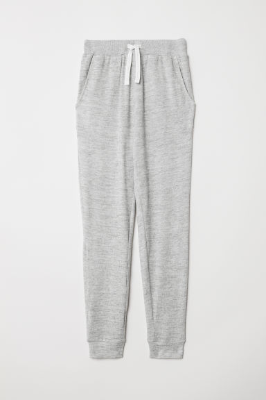 Fine-knit joggers - Light grey marl - Kids | H&M
