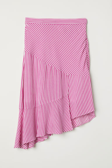 Asymmetric flounced skirt - Pink/White striped - Ladies | H&M CN
