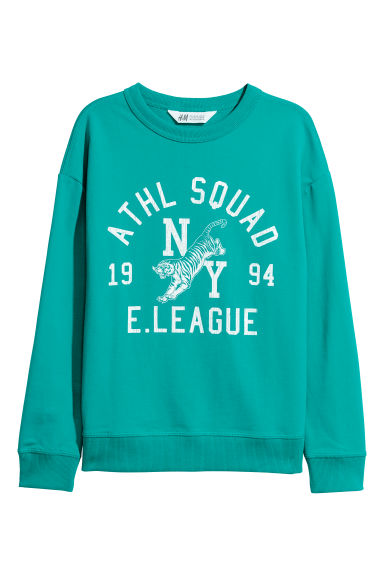 Sweatshirt with a print motif - Turquoise -  | H&M